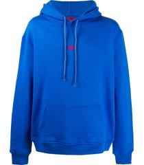 424 embroidered logo hoodie - blue