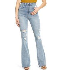 afrm kayne distressed flare jeans, size 26 in light sunland wash at nordstrom