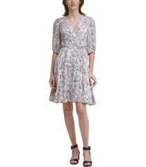 calvin klein petite printed faux-wrap dress