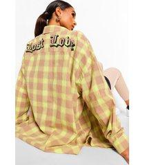 geruit lost love overhemd met rugopdruk, lime