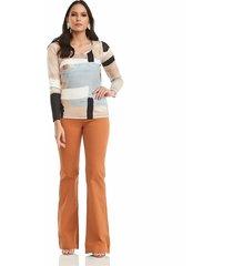 blusa estampado geometrico manga larga realist