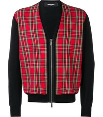 dsquared2 plaid zip-up cardigan - black