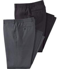 byxor i 2-pack men plus svart::grå