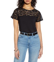 women's halogen floral lace yoke top