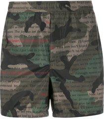 valentino camouflage text print swim shorts - green