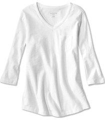 1856 organic cotton three-quarter-sleeved tee, white, large