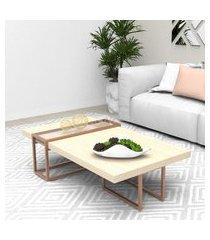 mesa centro tubular bronze madeirado claro mdf lilies móveis