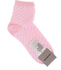 balenciaga woman pink socks with all-over logo