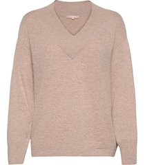 larvi v-neck knit stickad tröja beige soft rebels