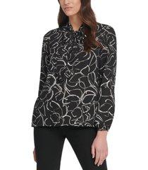 dkny printed tie-neck blouse