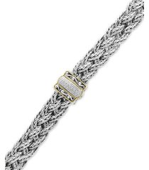 balissima by effy diamond braided bracelet (1/10 ct. t.w.) in sterling silver & 18k gold