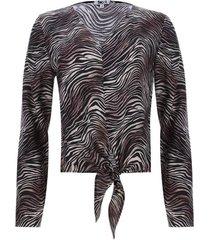 blusa con nudo en frente cebra color negro, talla 10