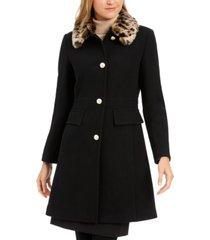 kate spade new york leopard-print faux-fur-collar coat