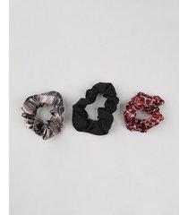 kit de 3 elásticos de cabelo scrunchie multicor
