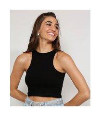 top cropped feminino canelado sem manga decote redondo preto