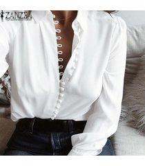 zanzea mujer de manga larga abajo de los botones de corte bajo casual tapas de la camisa más el tamaño de la blusa -blanco