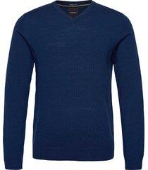 100 % merino v-neck knit stickad tröja v-krage blå lindbergh