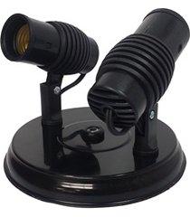 spot de sobrepor para 2 lâmpada poplux preto