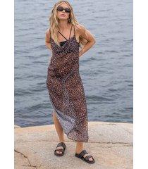 hunkemöller strandklänning i midi-längd djursheer hkm x na-kd brun