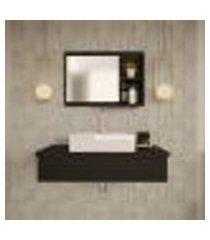 conjunto para banheiro bancada com cuba q39 quadrada e espelheira city 801 preto ônix