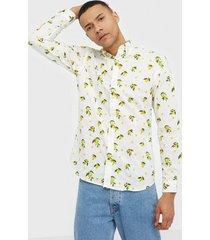 premium by jack & jones jprblamotive print shirt l/s plain skjortor vit