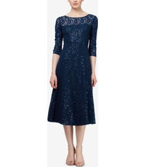 sl fashions 3/4-sleeve sequin lace dress