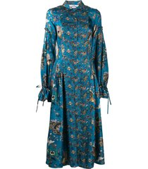 evi grintela love floral tie-cuff shirt dress - blue