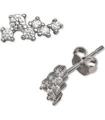 giani bernini cubic zirconia horizontal cluster stud earrings in sterling silver, created for macy's