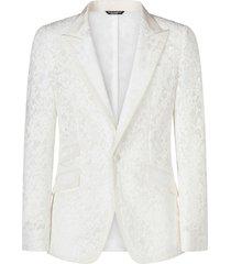 dolce & gabbana cordonnet lace blazer - white