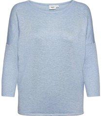 a2561, knit blouse w rib sl stickad tröja blå saint tropez