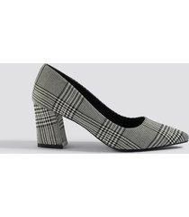 na-kd shoes checked block heel pumps - grey,multicolor