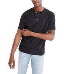 men's madewell garment dye henley t-shirt, size x-small - black