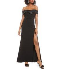 b darlin juniors' off-the-shoulder tuxedo dress, created for macy's