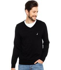 sweater nautica cuello v negro - calce regular