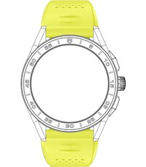 tag heuer men's connected lime yellow rubber smart watch strap