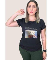 camiseta baby look feminina basica suffix moreana preta gola redonda estampa dream praia chapeu strass