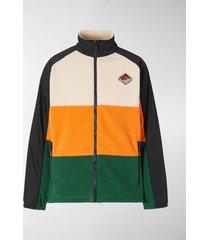 burberry colour-block striped fleece jacket