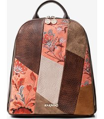 boho backpack mandalas and flowers - brown - u