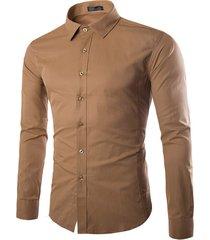 vestito casual business a maniche lunghe tinta unita camicia per uomo