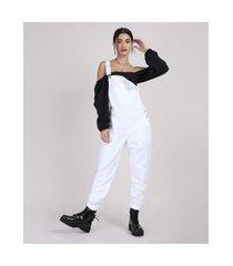 macacão de sarja feminino com bolsos branco