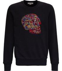 alexander mcqueen cotton skull sweatshirt with logo