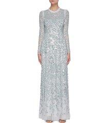 'aurelia' sequin embellished long sleeve gown