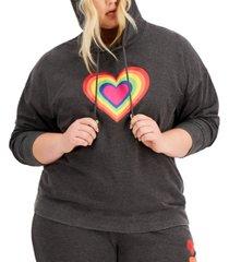 full circle trends trendy plus size heart hoodie