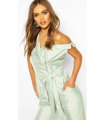 boohoo occasion lapel detail sleeveless blazer, sage