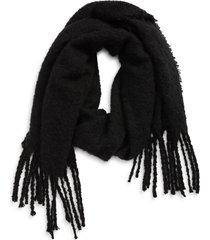 women's tasha solid fringe scarf, size one size - black