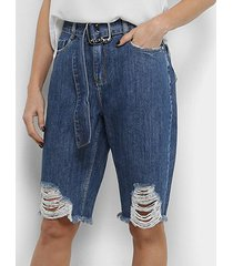 bermuda jeans morena rosa cinto feminina