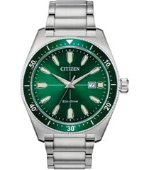 citizen eco-drive men's brycen stainless steel bracelet watch 43mm