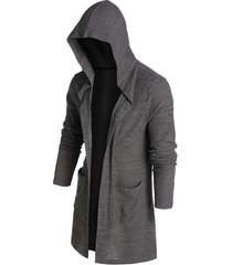 hooded double pocket open front ribbed cardigan