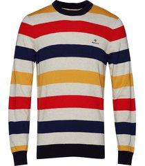 d1. multi colored stripe crew gebreide trui met ronde kraag multi/patroon gant
