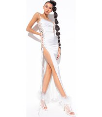 akira show a little leg satin lace up maxi dress